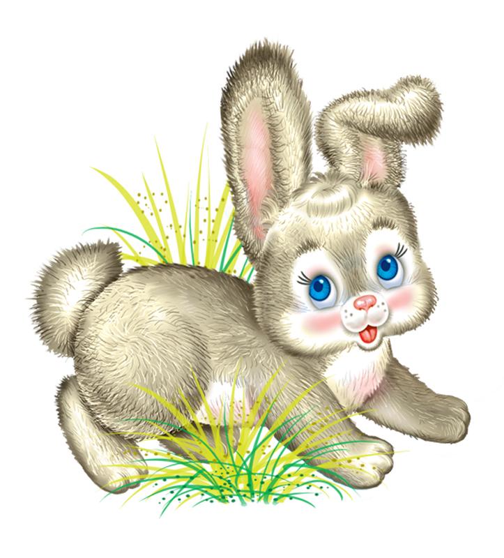 Картинка зайка для детей нарисованные цветные